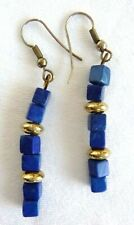 Vintage Lapis Squares Dangle Earrings Silver Plated Accents Pierced