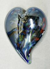 Beautiful Heart Shape Glass Paper Weight Multi Color Ieredescent