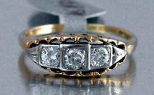 #RW117 Diamond  Gold Ring 14k   Estate Vintage Past Present Future Wedding Band