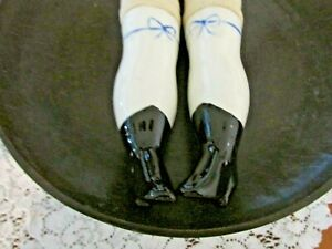 Ceramic Doll Legs, white w/ blue designs, Stuffed Material, Nice Condition