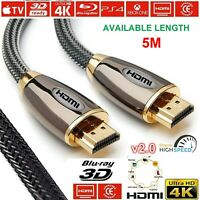 5M Hdmi Cable 2.0 Gold Plated Premium Ultra Braided 4K Lead 2160p 3d Hdtv