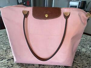 Womens Longchamp Le Pliage Nylon Pink Tote Handbag Bag Size L