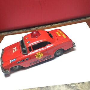 Vintage 1965 MARX Fire Department Fire Chief Red Friction Vehicle - Not Working