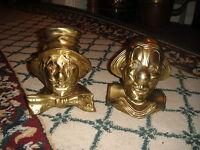 Vintage Brass Clown Bookends Pair 8LBS Brass Clowns Detailed Clowns