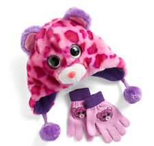 7ea7bc67612 TY girls Winter Cold Beanie Boos Faux Fur 3D Leopard Hat Gloves 2pc set NEW