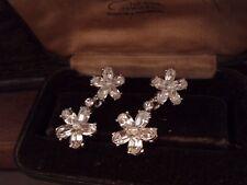 Butler & Wilson Vintage Clear Crystal Flower Drop Pierced Earrings