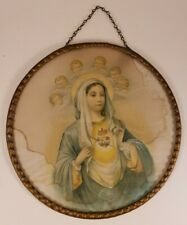 "Antique Flue Cover - Madonna Mary Cherubs - 7 3/4"" Frame"