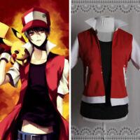 Pokemon Trainer Red uniform jacket Cosplay Costume custom
