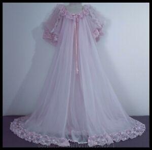 SWEET DREAM Pink 2pc Vintage TOSCA Nylon Chiffon NIGHTGOWN Peignoir Robe SET ~M