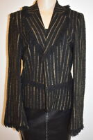 Brighton Paris Wool Black & Gold women's Jacket blazer Size 42-8 em