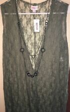 NWT LuLaRoe LLR Medium Joy Long Olive Green Delicate Lace Duster Vest BEAUTIFUL