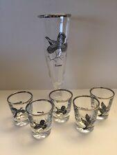 Set of 6 Bird Goose Pheasant Grouse Shot Glasses & Pilsner Silver Platinum Rim
