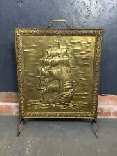 Vintage Embossed Brass Fire Guard / Screen, Sailing Ship Scene