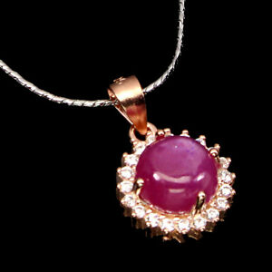 Round Red Ruby 7mm Cz 14K Rose Gold Plate 925 Sterling Silver Necklace 18 Ins