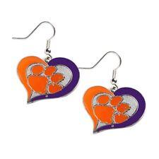 CLEMSON - SWIRL HEART LOGO - DANGLE EARRINGS - BRAND NEW - CCP-ER-245-06