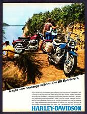 "1968 Harley-Davidson Sportster photo ""Bold New Challenge is Born"" print ad"