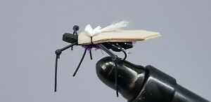 4QTY D'S WATER SKATER - BLACK & PURPLE Fly Fishing Flies Size 14