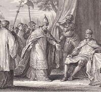 Gravure XVIIIe Soulèvement Pape Grégoire IV Louis le Débonnaire Indulgence 833