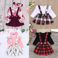 Toddler Kids Baby Girl Outfit Clothes Set T-shirt Top+Strap Skirt Dress+Headband