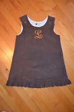 """Smockadot Kids Brown Cord Jumper dress Personalized """"L"""" Size 5"""