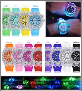 LED UHR Kinder Jungen Mädchen Damen Herren Leucht Bling Armbanduhr Light Watch