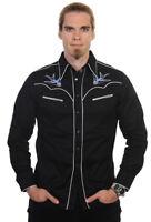 Banned Apparel Mens Black Swallow Rockabilly Psychobilly 50s Western Shirt