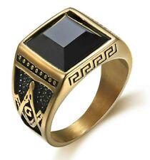 Anello Massonico Quadrato Uomo Acciaio Inox Con Pietra Nera Chevalier Color Oro