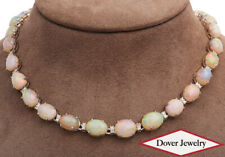 Estate Natural Diamond 66.80ct Opal 18K Gold Oval Link Necklace 51.7 Grams NR