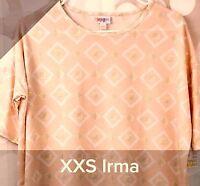 NWT Lularoe Size XXS Light Peach White Geometric Pattern Women's Irma T Shirt