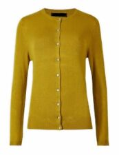 New M&S womens Ladies Marks & Spencer knitted mustard cardigan size 18