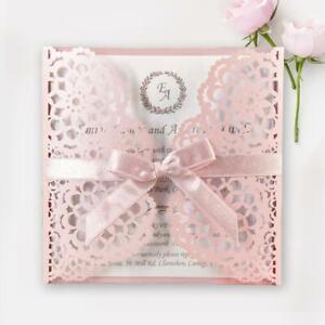 MISTY ROSE BLUSH PINK LASER CUT WEDDING INVITATIONS BUDGET WITH FREE ENVELOPES