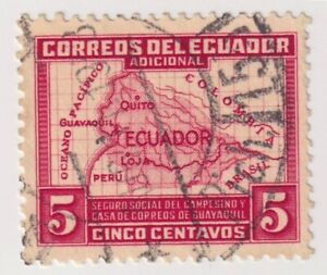 1938 Ecuador - Map of Ecuador - 5 C Tax Stamp (a)