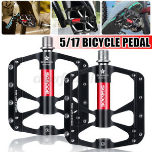 """Bicycle Pedals Metal Alloy Black Silver 5/17"""" Tough Pedal Reflective Reflectors"""
