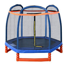 7FT Round Trampoline Combo w/ Safety Enclosure Net Outdoor Bouncer Jump Kids