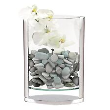 "(D) Decorative ""Donald"" Glass Flower Vase 14""H w/ Non-Tarnish Aluminum (S1003)"