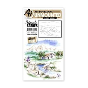 New Art Impressions clear rubber stamp SIMPLE SCENE ROCKY RIVER watercolor