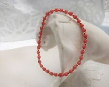 Pink Coral Bead Bracelet - Pink Coral & Rose Gold Plated Silver Beads - Stretch