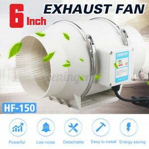 6'' Hydroponic Inline Exhaust Industrial Vent Silent Fan Extractor Duct