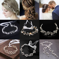 Women Girls Pearl Leaf Crystal Headband Bridal Hair Vine Wedding Hair Jewelry