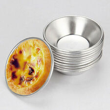 10x Cake Style Egg Tart Pudding Mould Mold Oven Bake Pan Tin Alloy Reuseful