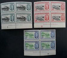 1950- Turks & Caicos Islands 3 Waterlow Imp blocks KGVI stamps Mint SG 229- 231
