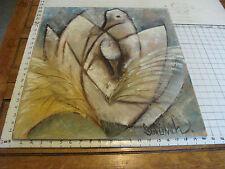 "Original ROSE SUSLOVICH ART: ABSTRACT SWANS, 24X20"", signed, on masonite"