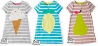 Mini Boden dress girls stripy logo jersey summer t-shirt sun age 2 3 4 5 6 7 8