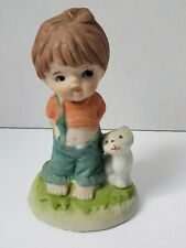 """Porcelain Figurine Child with Cat by side Cute Barefoot Suspender Down Small 4"""""""