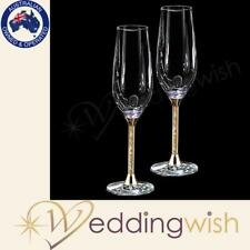 Gold leaf Stem Toasting Glasses, Wedding Champagne Flutes