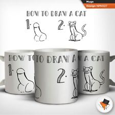 How to draw a cat adult humour coffee tea mug cup gift birthday anniversary !