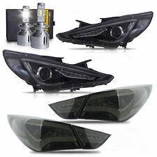 Headlights+SMOKE Taillights+H7 LED Bulbs for SONATA 11-13 GL 11-14 Limited