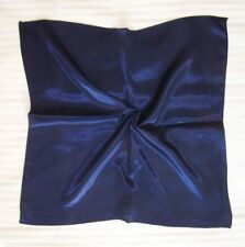 Plain Dark blue Soft Neckerchief Shawl Head Bandanas Square Scarf Satin