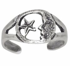 Sterling Silver .925 Star and Moon Toe Ring Adjustable Size   Made In USA