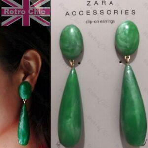 Ex Zara EMERALD GREEN 9cm OVERSIZE DROPPER EARRINGS vintage clips CHUNKY LONG